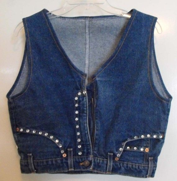 Upcycled Denim Jeans Vest~~~love it!!