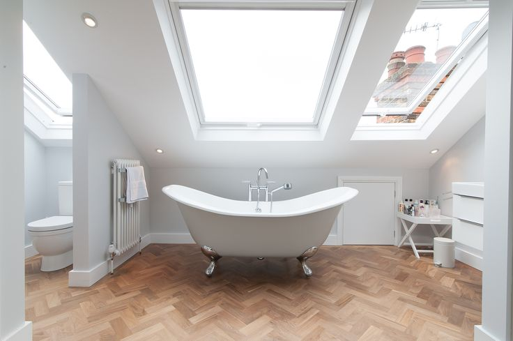 50 Degrees North Architects dormer loft conversion project in South West London. Open-plan master bedroom suite flooded with light.