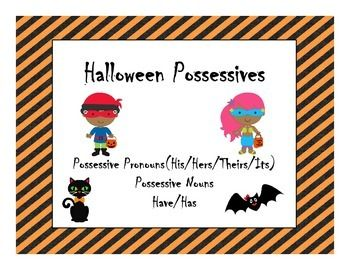Halloween Possessive Nouns and Pronouns speech therapy activity$