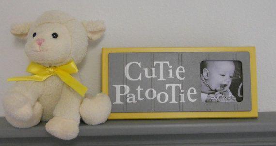 Yellow Gray Nursery Art Photo Frame Sign Sunshine by NelsonsGifts, $16.95