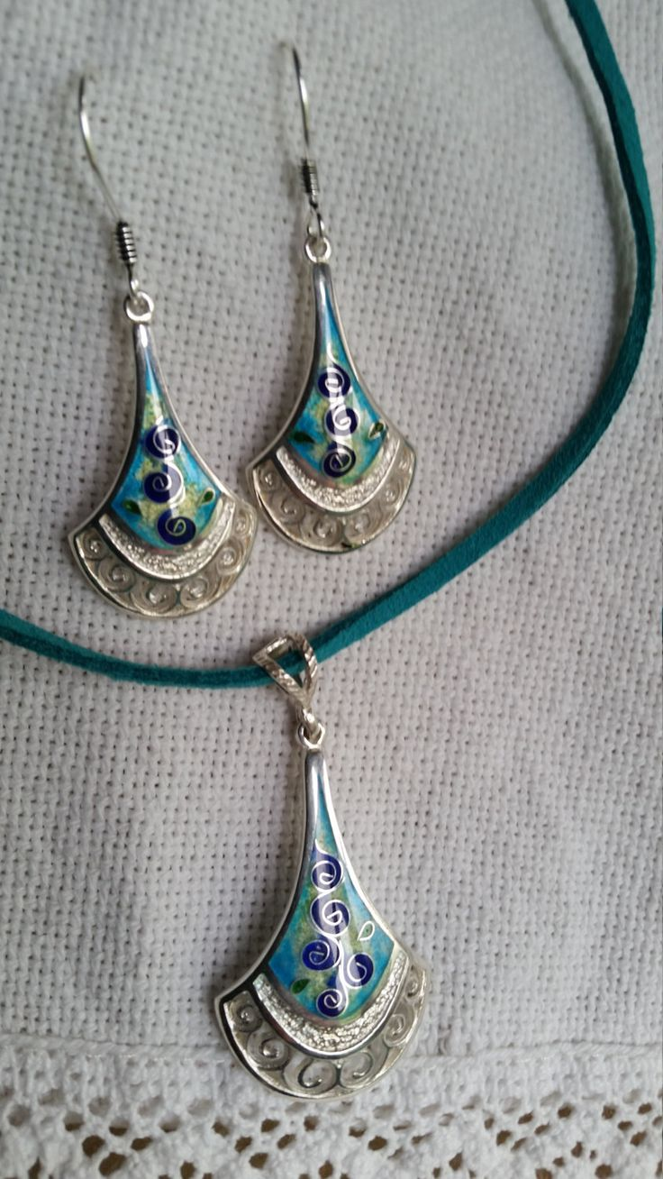 Silver set,enamel silver jewelry by tsio55 on Etsy