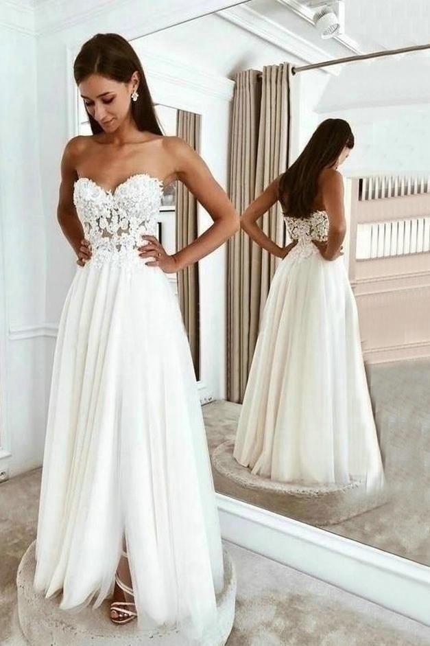 Boho Beach Wedding Dresses Long Lace Applique Tulle Sweetheart