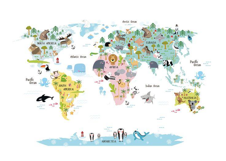Børneplakat med verdenskort med dyr. Fine plakater og posters til børn.