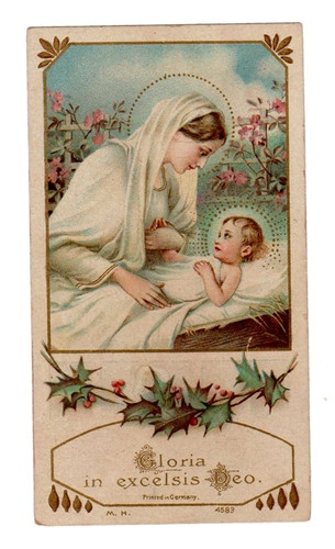 Gloria in Excelsis Deo Vintage Holy Card M H Co |