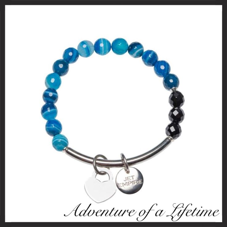 Blue Agate, Onyx and stainless steel bracelet.