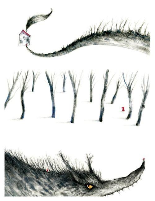 """Adolfo Serra, http://adolfoserra.blogspot.com/ """"La abuela vivía lejos, en el bosque, a media hora de la aldea. Cuando Caperucita Roja llegó al bosque, salió a su encuentro el lobo, pero la niña no sabía qué clase de fiera maligna era y no se asustó."""" Hermanos Grimm [Pincha en la imagen para verla con detalle] 2011-04-26"""
