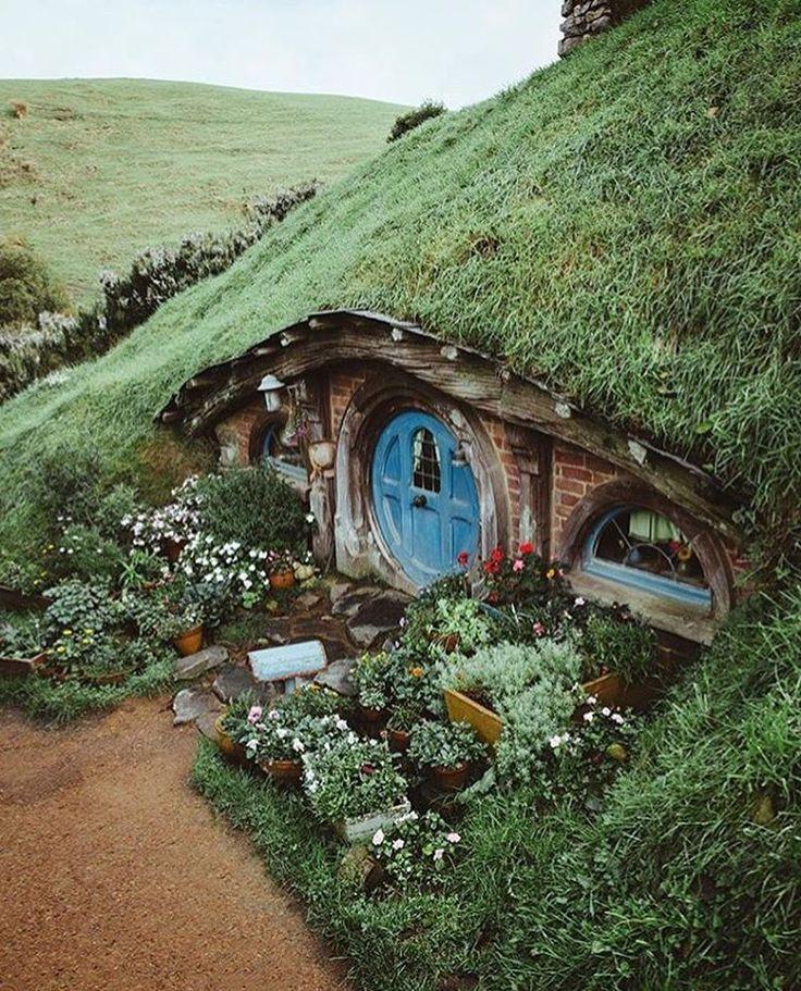 Hobbit house with blue round door Hobbiton