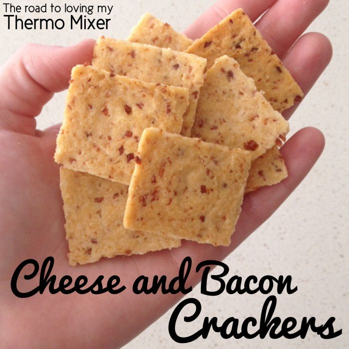 Cheese and Bacon Crackers 5 slices shortcut bacon, the smokier in flavour the better 180g plain flour 1 teaspoon smoked paprika 1 teaspoon dried garlic powder 1 teaspoon dried onion powder 1 teaspoon salt 80g cold butter, cubed 120g grated cheddar or similar cheese 1 - 2 tablespoons of cold water