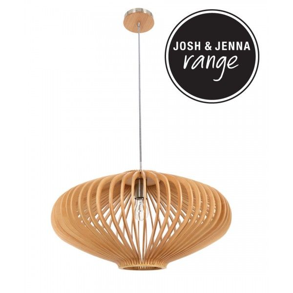 Kiel 580mm Natural Wooden Pendant | Pendant Lights | Lighting