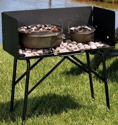 Lodge Camp Dutch Oven Cooking Table with Tall Windscreen
