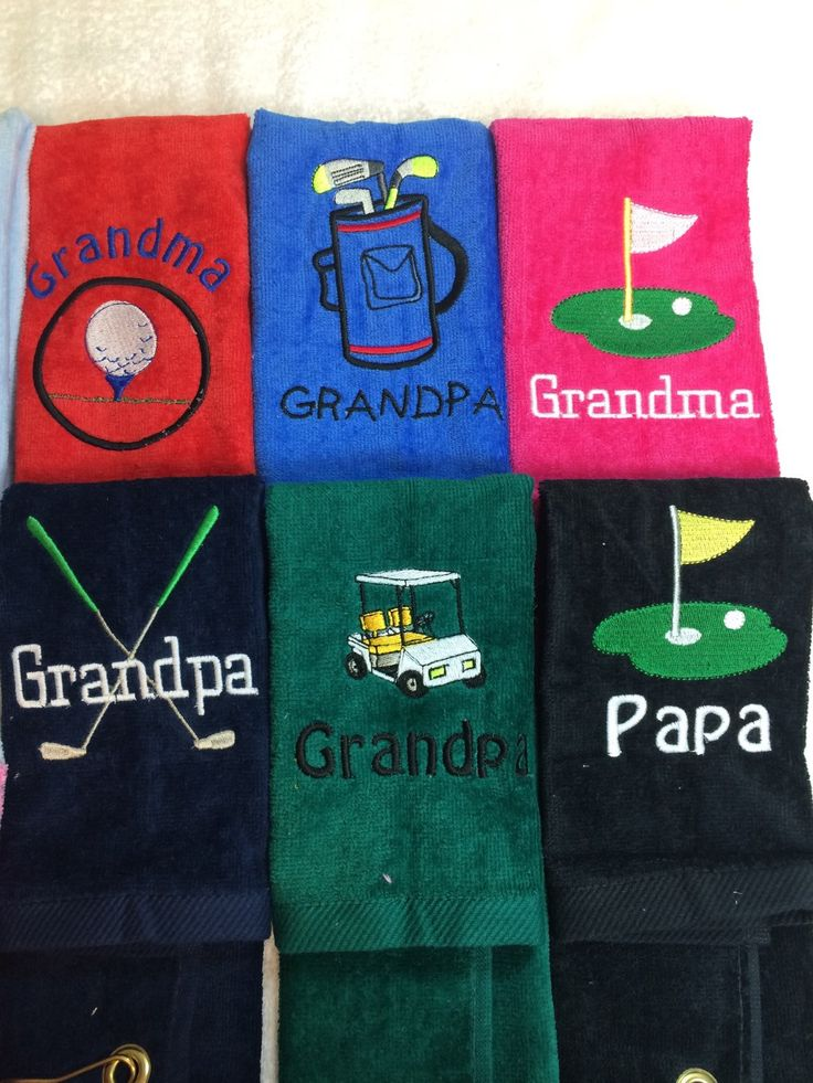 A personal favorite from my Etsy shop https://www.etsy.com/listing/190221110/personalized-golf-towel-golf-green-golf