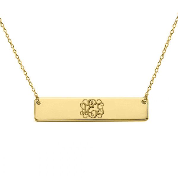 Gold monogram bar necklace 18k gold plated pendant select any initial made with 925 silver and gold plated 1 inch by shortiescupcakes on Etsy https://www.etsy.com/listing/197622887/gold-monogram-bar-necklace-18k-gold