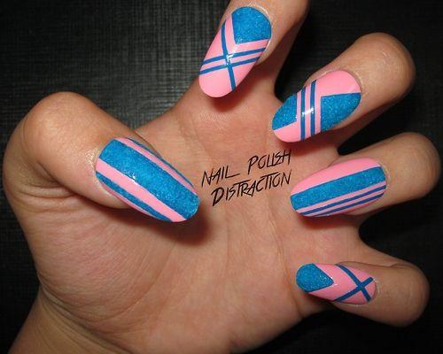 Nail Polish Distraction - Pink & blue nails, using flocking powder. #nail #nails #nailsart