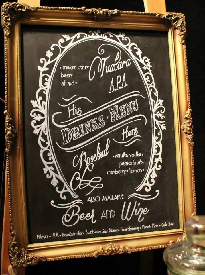 A Vintage & Pretty Cocktail list on a painter's easel.  We can design & execute bespoke blackboards for your drinks list too.
