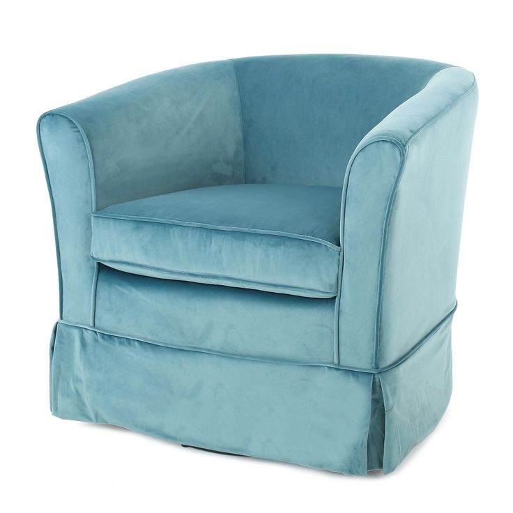 Cecilia Velvet Swivel Club Chair - Blue - Christopher Knight Home