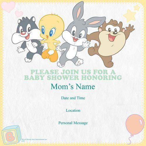 Elegant Looney Tunes Personalized Baby Shower Invitations   Set Of 25