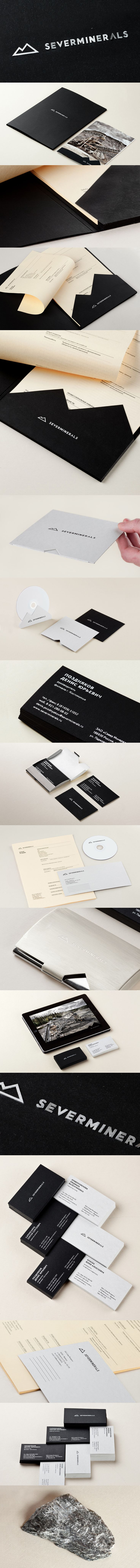 Severminerals, Identity Branding Suite. Black. Silver. Business Card. Letterhead.