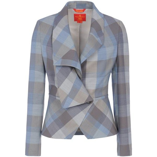 VIVIENNE WESTWOOD RED LABEL Blazer featuring polyvore fashion clothing outerwear jackets blazers blazer coats light grey lined jacket wool jacket wool blazer long sleeve blazer pocket jacket