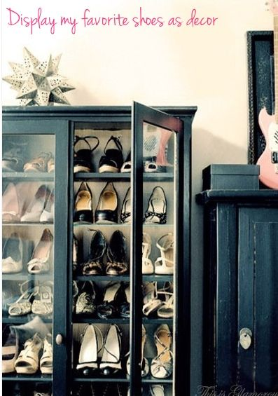 Need additional closet space?  Here a repurposed cabinet is used to display & organize shoes.