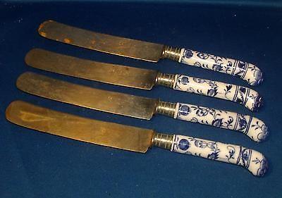 Set 4 Antique 19th century Henkel's Knives Meissen Porcelain Blue Onion Handles