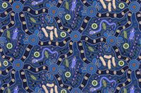 "Bulurru Tablecloth - Bush Tucker [Blue] Artist:  Julie Nabangardi Shedden Artwork design story enclosed with tablecloth  suitable for a large 8 seater or trestle table  Rectangle - Dinner 140cm x 240cm (55"" x 94.5"") Australian Made - 100% Cotton Price - $75.00 each [incl GST]"