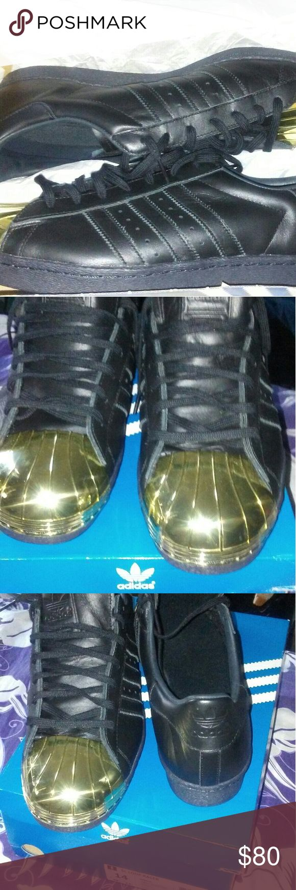 Adidas superstars I have a pair of all black Adidas Superstars with Gold Shell toes in men size 14.I wore these for a few hours and that was it because they started hurting from my feet being too wide.So these are in excellent conditicon.These were giving to me as a gift.Theres no holes rips or anything coming apart and no scratches on the Gold toe parts.If you are interested hmu with questions or offers.im open to offers. Thanks for checking out my closet and God bless! ANY TRADES? adidas…