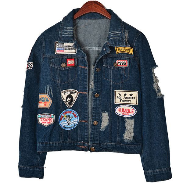 Chicnova Fashion Distressed Denim Jacket (€22) ❤ liked on Polyvore featuring outerwear, jackets, tops, casacos, distressed denim jacket, blue jackets, patch jacket and distressed jacket