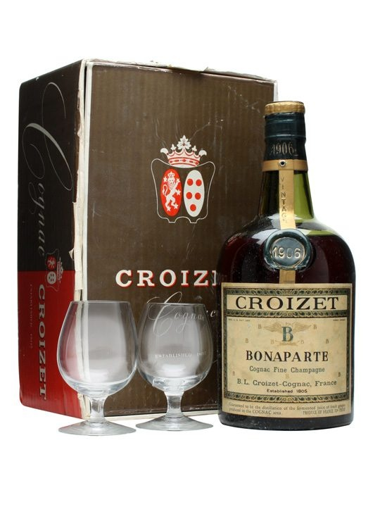 Croizet 1906 Bonaparte Cognac + 2 Glasses : Buy Online - The Whisky Exchange - A rather special edition of Croizet's Bonaparte Cognac. It's from the 1906 vintage and also comes with a pair of snifter glasses. An incredible collector's item.