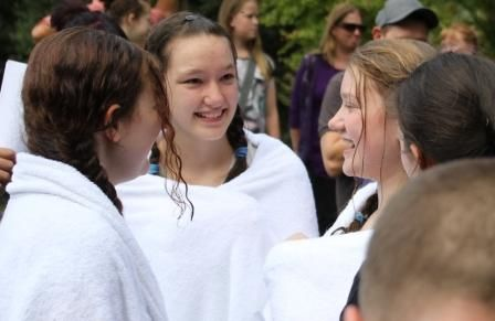 The girls, wrapped in their white towels, looked like angels talking together. So beautiful!!