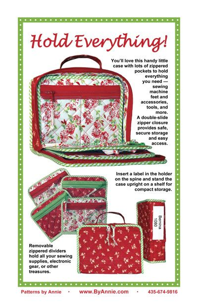 : Patterns by Annie | Product: Hold Everything! Bag--looks nice for machine feet,tools, etc.