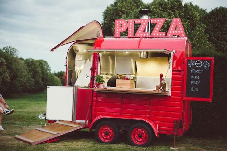 Pizza Food Truck Mint Gold Peach Summer Marquee Wedding http://elizaclaire.com
