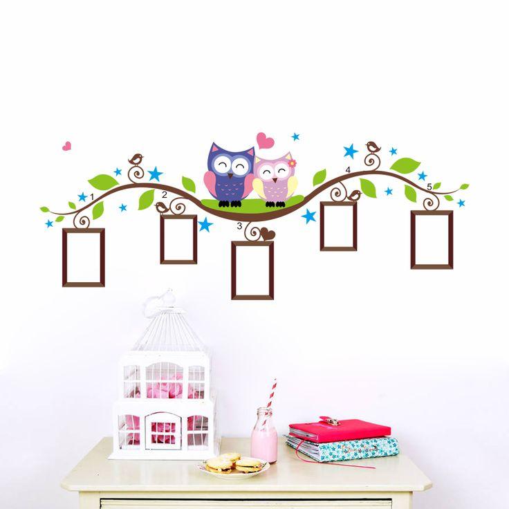Búhos pegatinas de pared marco de fotos decoración del hogar recamara animales tatuajes de pared arte mural salón de dibujos animados flor de la vid zooyoo1021