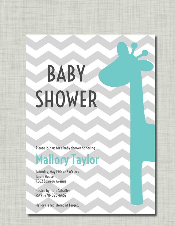 Boy Baby Shower Invitation Giraffe aqua grey by BusyChickadees, $10.00
