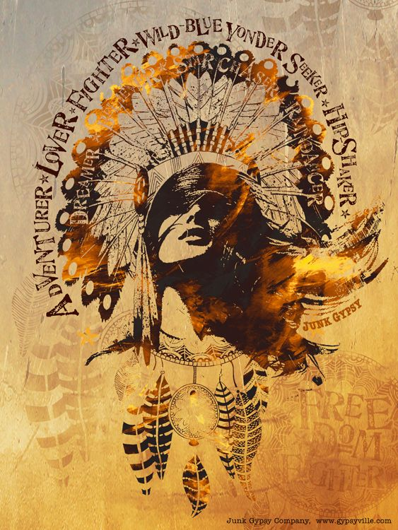 """junk gypsy original FREEDOM FIGHTER art canvas.  features a girl with a gorgeous headdress and imbedded around and in the headdress are the words: """"ADVENTURER * LOVER * FIghter * Wild BLue YONDER SEEKER * HIp SHAker * DREAMER * BelieVER * Star ChASer * Rain Dancer"""""""