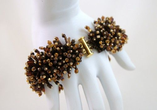 Brown Caterpillar Fringe Beaded Bracelet - Shades of Brown | 1BeadAtATime - Jewelry on ArtFire