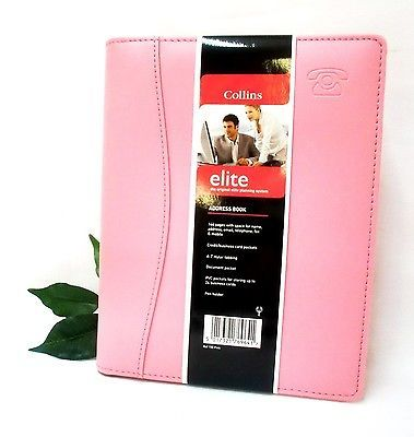 Collins Elite Padded Address Book Pink A5 144 Pages A-Z Tabbed Ref 150