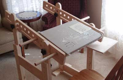 Prototype for a stand for a slate frame Trestles for Slate Frames for Hand Embroidery
