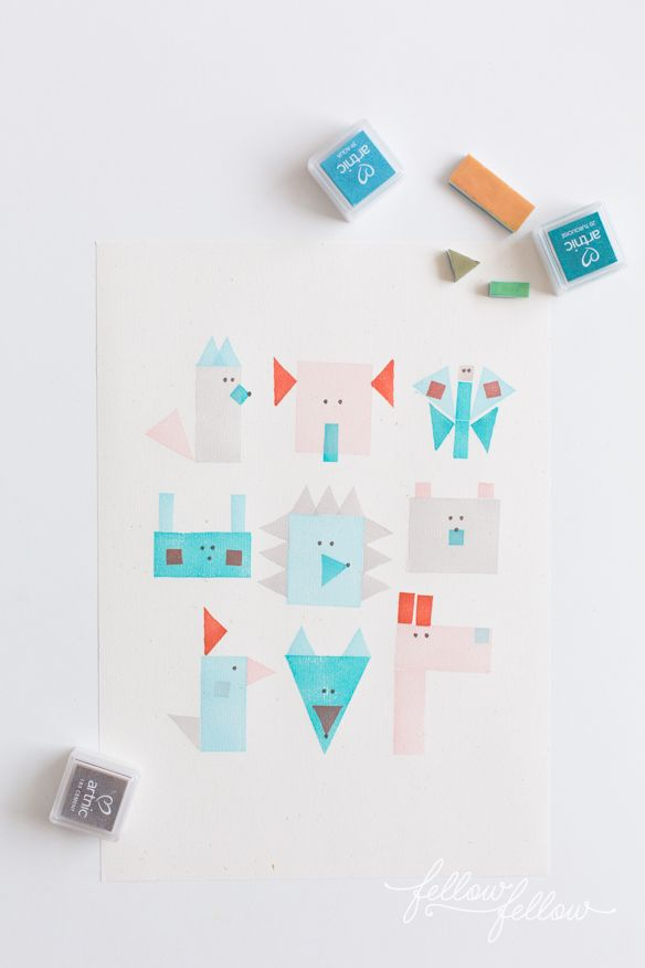 geometric animal stamps