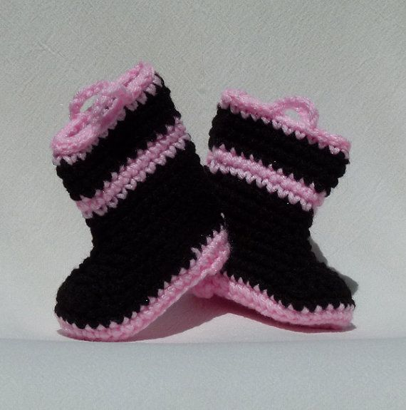 Crocheted Baby Booties Fireman Style 0 to 3 month by GrizzlyCreek, $12.95