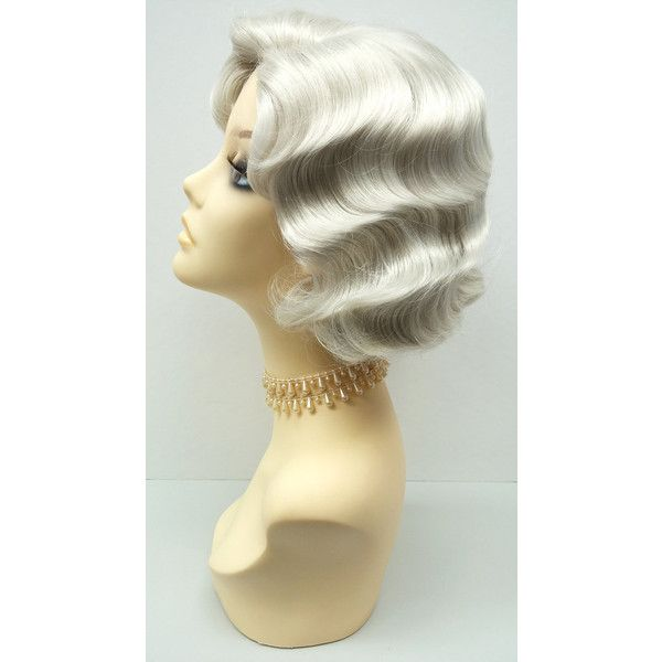 1920'S Style Short Light Grey Finger Wave Wig Vintage Style Costume... ($40) ❤ liked on Polyvore featuring costumes, bath & beauty, hair care, silver, wigs, twenties costumes, roaring 20s halloween costumes, roaring 20s costumes, wigs costume and 1920s halloween costume