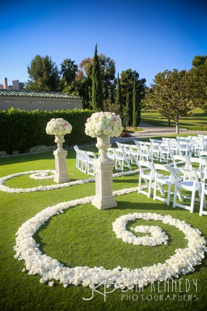 White outdoor wedding ceremony with white aisle petals at Marbella Country Club wedding | Engaged Events | Events by Candice | Jim Kennedy Photographers