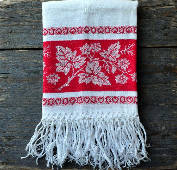 Antique Tea Towel, Monogrammed Damask Tea Towel, Monogrammed Anique Linen, by ColoursAndSoul on Etsy