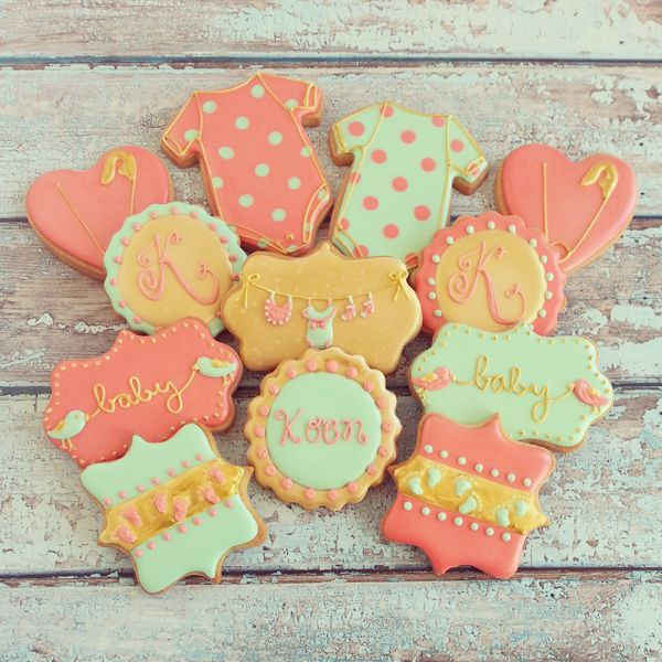 Baby Shower Cookies~                   by the baked equation, mint green, Orange polka dot, Onesie, diaper pin
