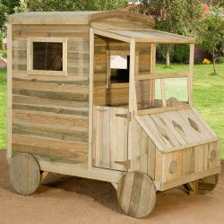 Casetta bambini legno impregnato in autoclave per giardino Casetta bimbi a forma di auto con 1 vano nella parte frontale ed 1 porta sul retro con 2 finestrelle.  Dimensioni L 110 X P 184 X H 176 cm Certificazione TUV per giardini privati