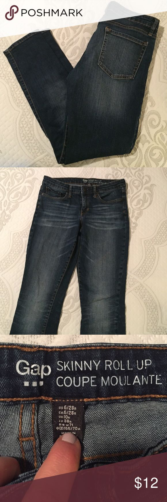"""Gap OUTLET skinny jeans EUC skinny jeans from Gap Outlet. Size 6. Inseam is 28"""". Nice dark blue with some fading. GAP Jeans Skinny"""