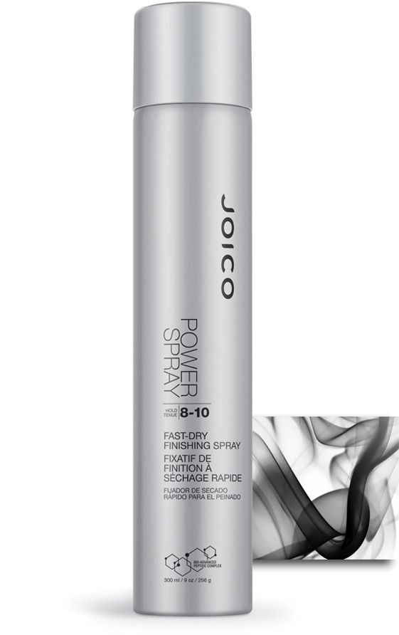 JOICO PowerSpray - fast-dry finishing spray - increases in hold when layered but never sticks or stiffens. Dries instantly and stays restylable. Creates tremendous shine and protects against humidity and thermal styling.