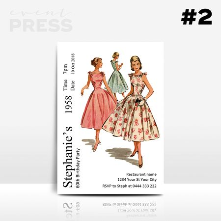 Dress Pattern Birthday Invitation   Event Press  Digital design can be found at www.ellenphantdesigns.etsy.com    Retro, Sewing, craft, adult, 40, 50, 60, birthday