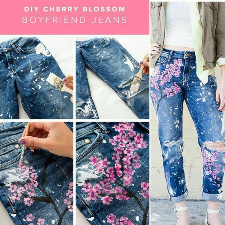 21 вподобань, 1 коментарів – Kelly Simone' (@kellysimoneshelton) в Instagram: «Recreate Blake Lively's $500 cherry blossom boyfriend jeans with this DIY. 1. Lather a large…»
