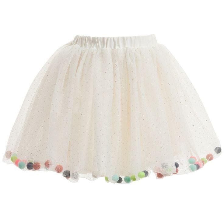 Billieblush Ivory Tulle Glitter Skirt with Pom Poms at Childrensalon.com