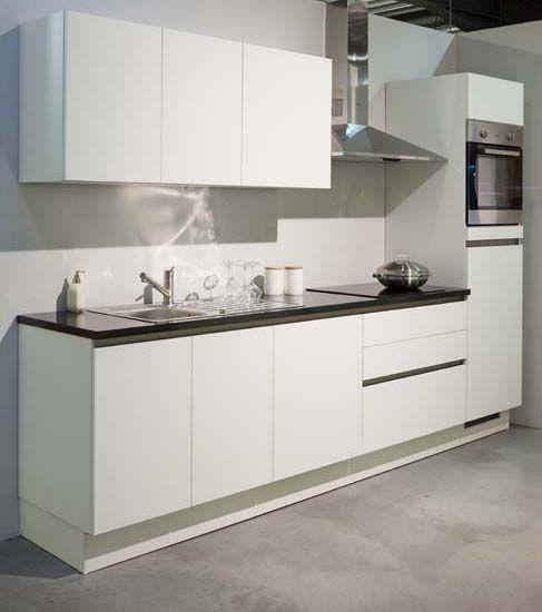 Premium design met werkblad in graniet - greeploos wit